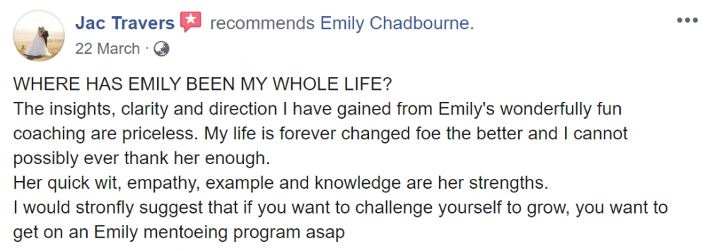Emily Chadbourne That Crazy Thing Called Life Course Testimonial 1