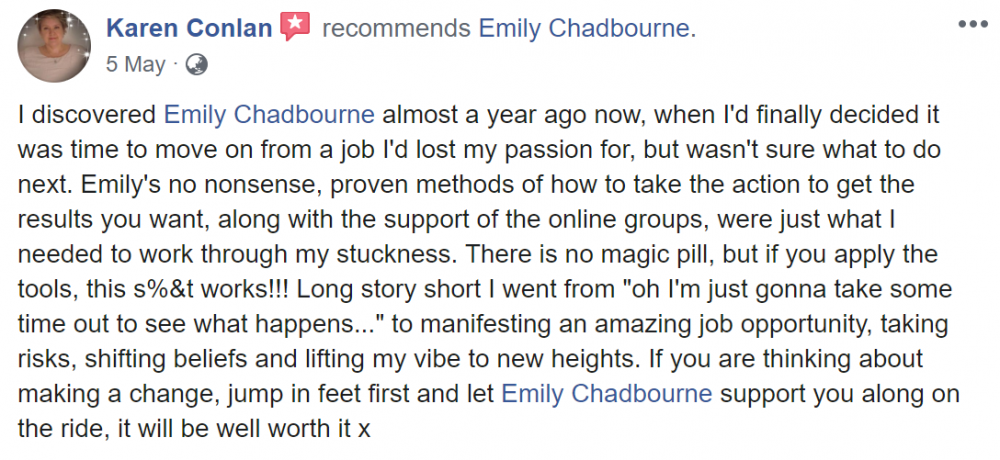 Emily Chadbourne That Crazy Thing Called Life Course Testimonial 2